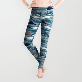 Origami Sea // linen texture and nautical stripes background teal white and taupe whales Leggings