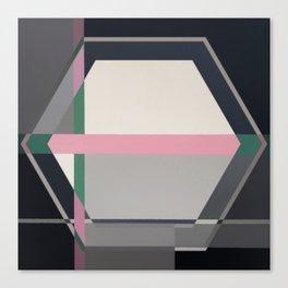 Green line -hexagon graphic Canvas Print