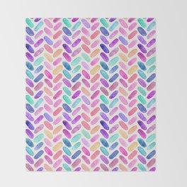 Rainbow Herringbone Watercolor Oblongs Throw Blanket