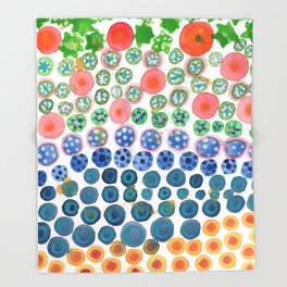 Playful Green Stars and Colorful Circles Pattern Throw Blanket