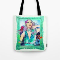pisces Tote Bags featuring Pisces by Sara Eshak