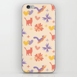 Colorful Cat Pattern Coral and Lavender with Flowers iPhone Skin