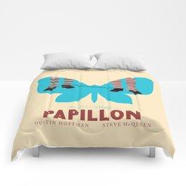 Papillon, Steve McQueen vintage movie poster, retrò playbill, Dustin Hoffman, hollywood film Comforters