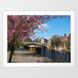 A walk by the river Art Print