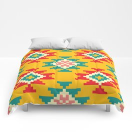 Bold and Vibrant Native Inspired Pattern on Yellow Comforters