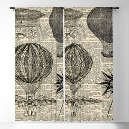 newspaper print victorian steampunk airship plane hot air balloon Blackout Curtain