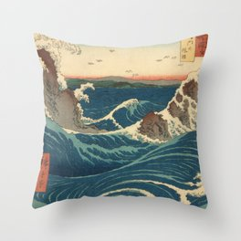 Vintage poster - Japanese Wave Throw Pillow