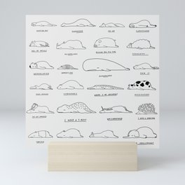 Moody Animals Pattern Mini Art Print