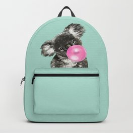 Playful Koala Bear with Bubble Gum in Green Backpack