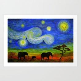 Starry Night Over Africa Art Print