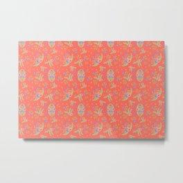 Vintage Florals - Living Coral Metal Print