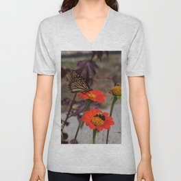 Bumble Bee and Monarch Butterfly on Red and Yellow Flower Unisex V-Neck