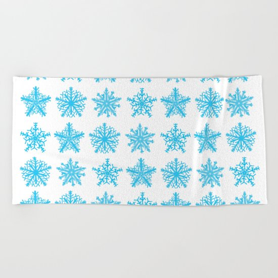 Sky Blue Star Pattern Beach Towel