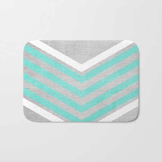 Teal and White Chevron on Silver Grey Wood Bath Mat