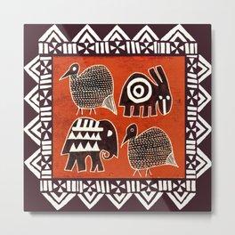 African Animal Folk Art Metal Print