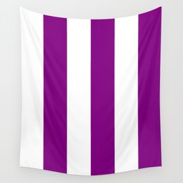 Wide Vertical Stripes - White and Purple Violet Wall Tapestry