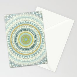 Light Yellow Aqua Mandala Stationery Cards