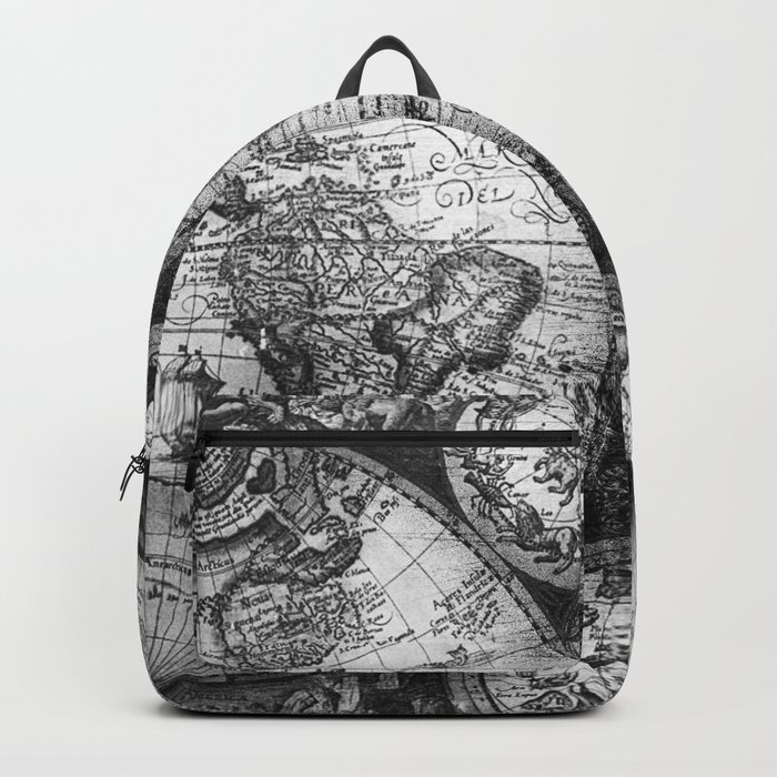 World map antique vintage black and white backpack by naturemagick world map antique vintage black and white backpack gumiabroncs Choice Image