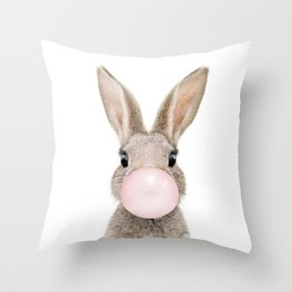 Bubble Gum Rabbit Throw Pillow