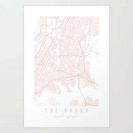 The Bronx New York Light Pink Minimal Street Map Art Print