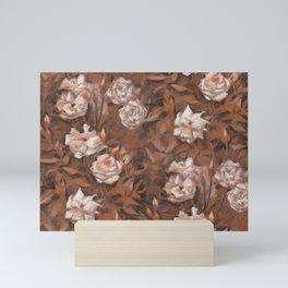 White roses in earth shades Mini Art Print