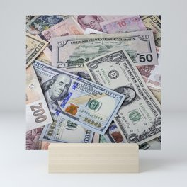 A collection of various foreign currencies Mini Art Print