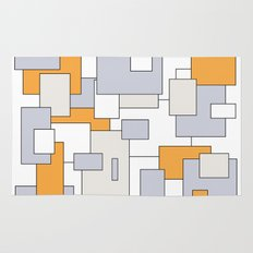 Squares - orange, gray and white. Rug