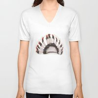 headdress V-neck T-shirts featuring Headdress by Ezgi Kaya