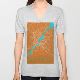 Derry~Londonderry, Northern Ireland, Gold, Blue, City, Map Unisex V-Neck
