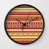 tony stark Wall Clocks featuring Tribal Heroes - Tony Stark by monobuu