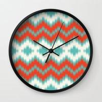 ikat Wall Clocks featuring Ikat by Deepti Munshaw