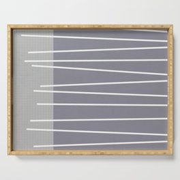 Mid century modern textured gray stripes Serving Tray