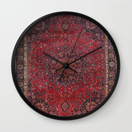 Old Century Persia Authentic Colorful Purple Blue Red Star Blooms Vintage Rug Pattern Wall Clock