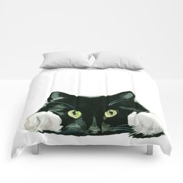 Black cat watching at you Comforters