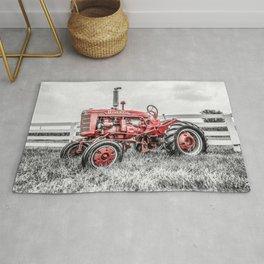 Selective Red Vintage Farmall A Antique Red Tractor Farming Nostalgia Farm Equipment  Rug