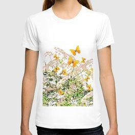 WHITE ART GARDEN ART OF YELLOW BUTTERFLIES T-shirt