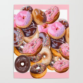 MODERN ART PINK & CHOCOLATE DONUT PASTRY MONTAGE Poster