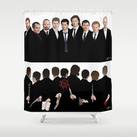 crowley Shower Curtains featuring We're All Enemies Here (1 PIECE) by Paige Carpenter