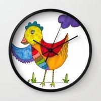 """chicken Wall Clocks featuring """"Chicken""""  by Holly Lynn Clark"""