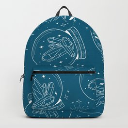 Snow Globe with chrystals in white lines on Teal Backpack