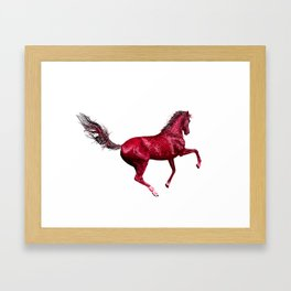 Happy Horse in Red Framed Art Print