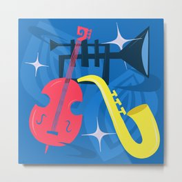 Jazz Composition With Bass, Saxophone And Trumpet Metal Print