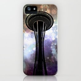 Space Needle - Seattle Stars and Clouds at Night iPhone Case