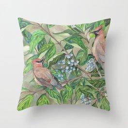 Cedar Waxwings bird and berries Throw Pillow