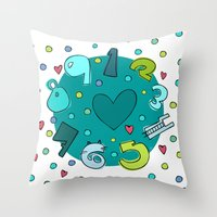 numbers Throw Pillows featuring Numbers by Bea Blanco