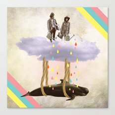 couple who travels on a cloud with a whale  Canvas Print