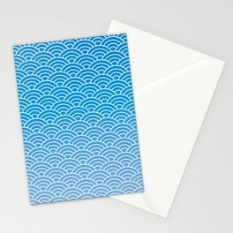 Seigaiha Gradient Blue Stationery Cards