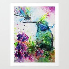 Hummingbird And Dragonfly Art Print