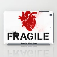 anatomical heart iPad Cases featuring Fragile Anatomical Heart(RED) by J ō v
