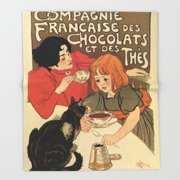 Vintage French tea and hot cocoa advertising Throw Blanket